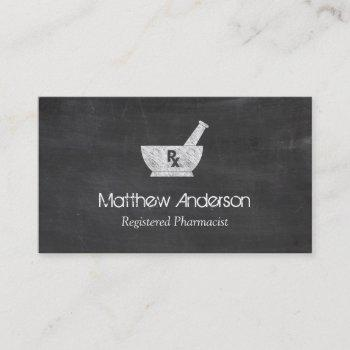 pharmacy symbol mortar and pestle - chalkboard business card
