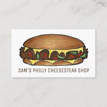 philly philadelphia cheese steak sandwich food business card