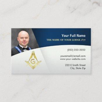 photo freemason business cards | navy blue gold
