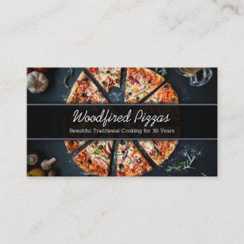 photo of a pizza on slate - business card