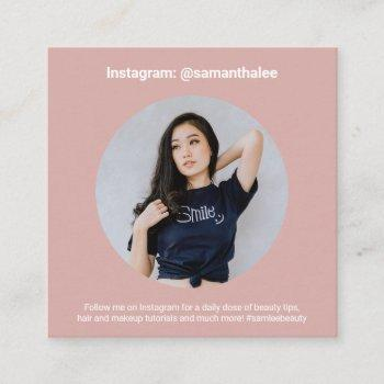 photo social media instagram trendy blush pink square business card