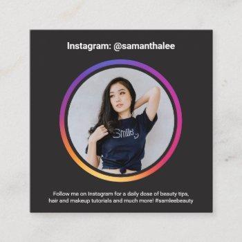 photo social media instagram trendy modern black square business card
