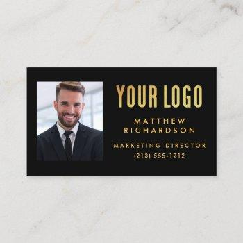 photo your company or event logo black business card