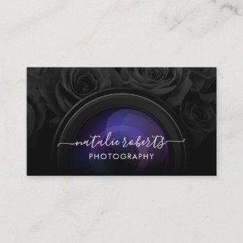 photographer camera black floral photography business card