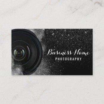 photographer camera black glitter photography business card