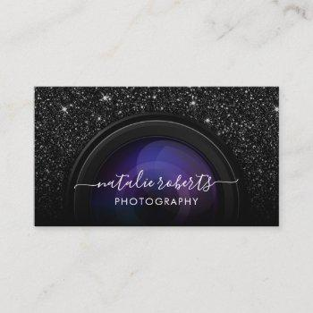 photographer camera chic black glitter photography business card