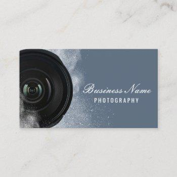 photographer camera dusty blue photography business card