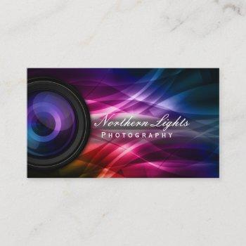 photographer camera lens & aurora photography business card