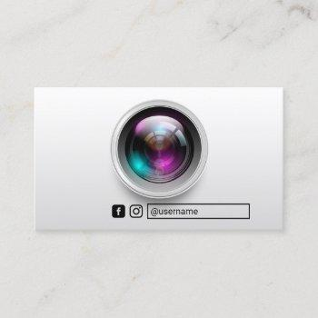 photographer camera lens photography social media business card