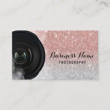 photographer camera rose gold glitter photography business card