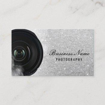 photographer camera silver glitter photography business card