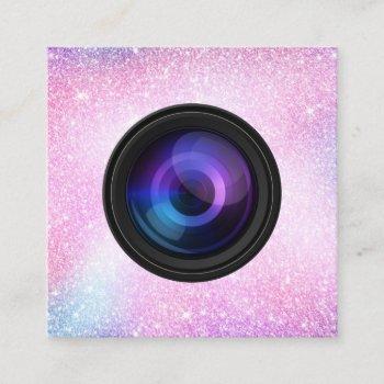 photographer camera unicorn glitter photography square business card