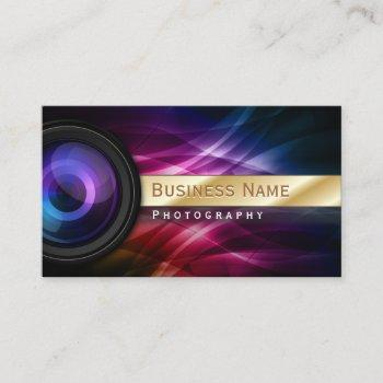 photographer gold striped aurora modern business card
