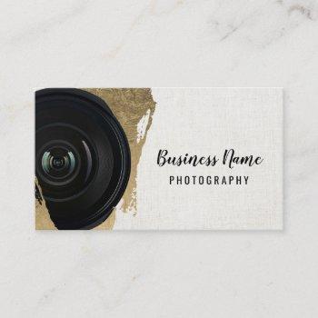 photographer modern gold stroke photography business card