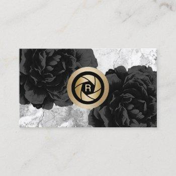 photographer monogram gold shutter black floral business card