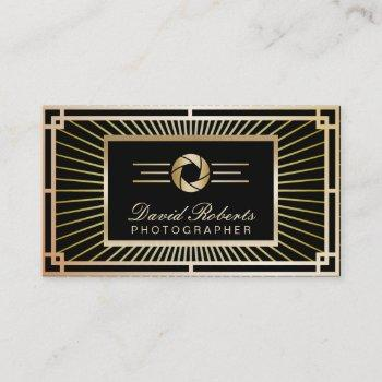 photographer vintage gold art deco modern business card