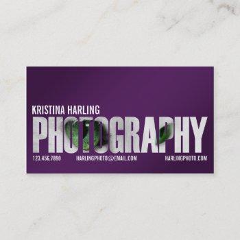 photography cutout - purple business card