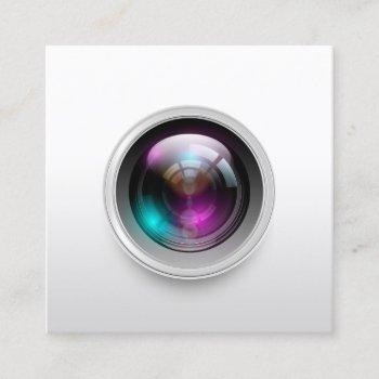 photography minimalist camera lens photographer square business card