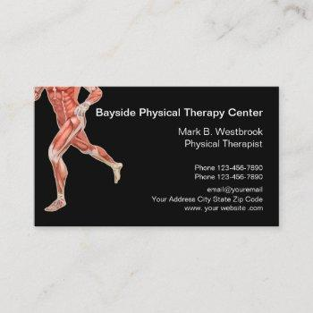physical therapist modern muscles graphic business card