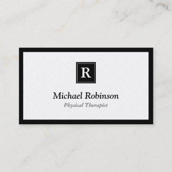 physical therapist - simple elegant monogram business card