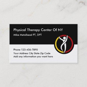 physical therapy clinic and therapist business card