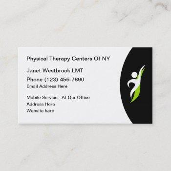physical therapy services therapist business card