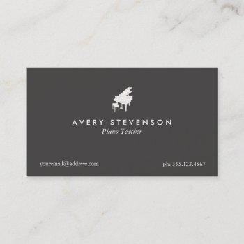 pianio teacher simple black business card