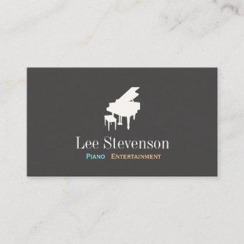 pianist piano music teacher grand piano business card