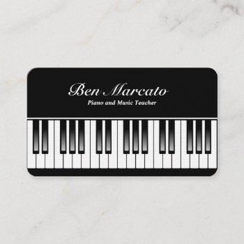 piano keyboard (linen, rounded corner) business card