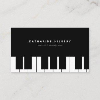 piano keyboards minimalist black business card