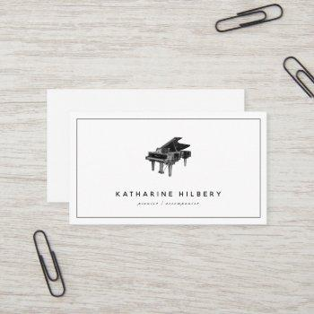 piano modern minimalist white business card