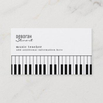 piano music teacher elegant business card