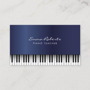piano music teacher royal blue musical business card