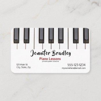 piano teacher business cards