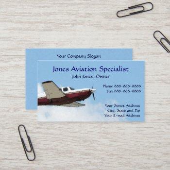 pilot aviation single engine plane business card
