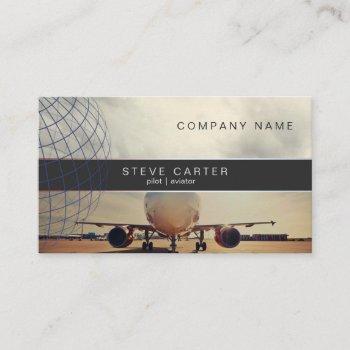 pilot aviator plane driver mechanic aviation business card
