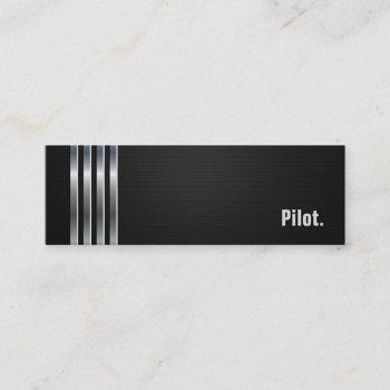 pilot - black silver stripes mini business card