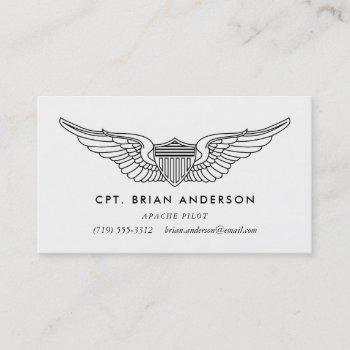 pilot wings army aviator business card