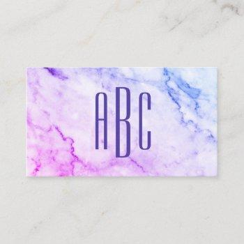 pink and blue miami ombre marble purple monogram business card