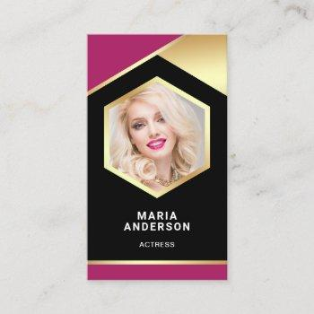 pink and gold foil model actress headshot photo business card