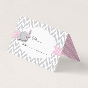 pink and gray elephant baby shower | place cards