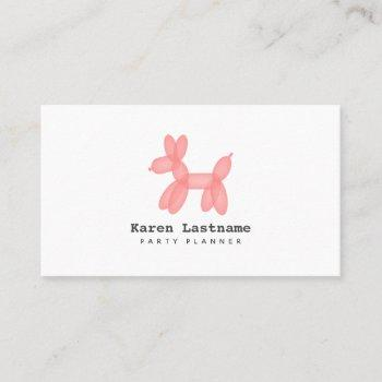 pink balloon animal party event planner business card