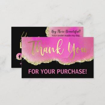 pink black glitter gold agate foil thank you business card