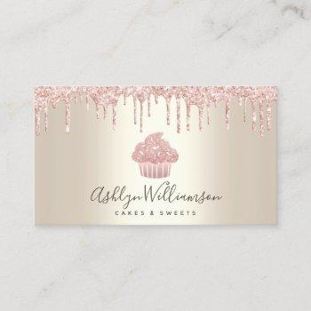 pink cupcake glitter drips bakery pastry chef gold business card