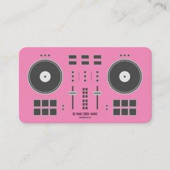 pink dj controller business card
