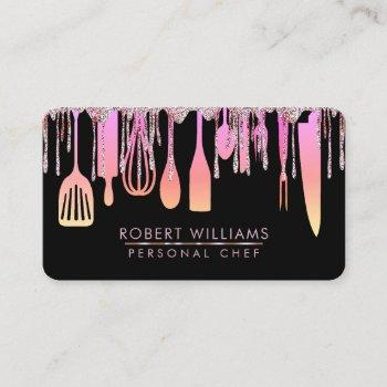 pink drip chef kitchen tools glitter faux business card