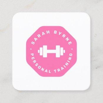 pink emblem personal trainer training  business ca square business card