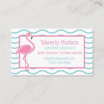 pink flamingo personalized business contact cards