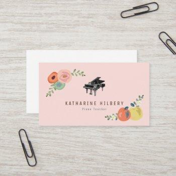 pink floral apple piano teacher business card