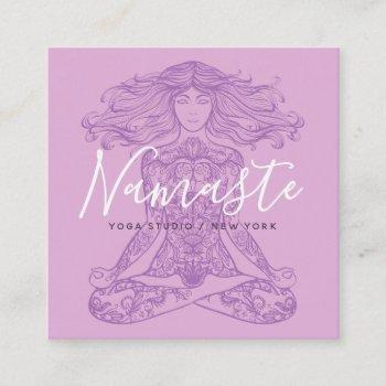 pink floral mandala meditation yoga instructor square business card